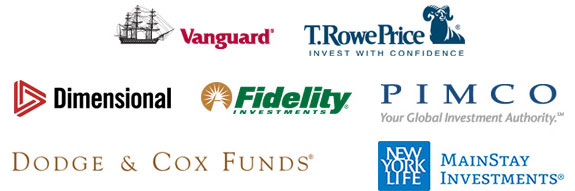 graphic of various logos of mutual fund families